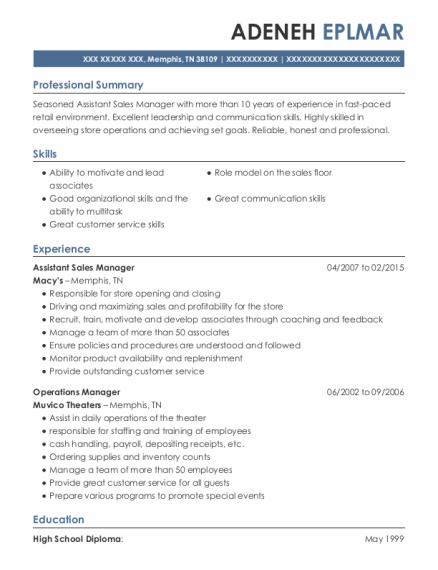 Assistant Sales Manager resume template Tennessee