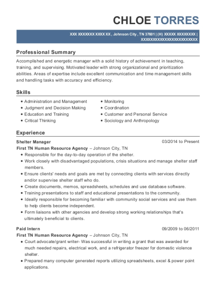 Shelter Manager resume sample Tennessee