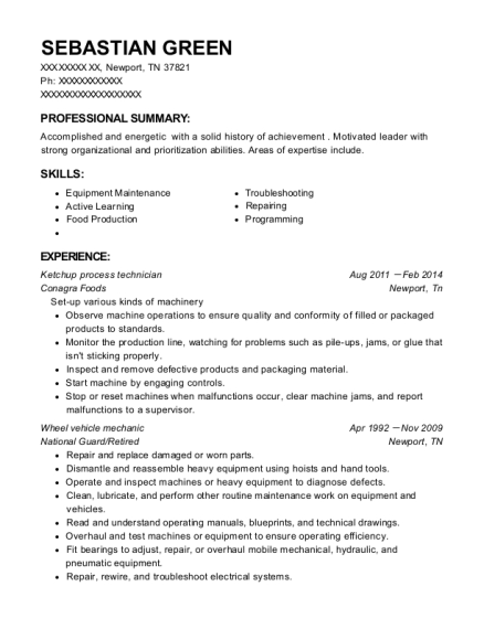 Ketchup process technician resume sample Tennessee