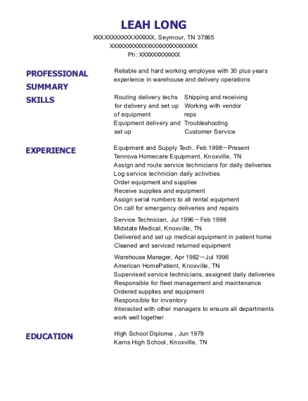 Equipment and Supply Tech resume template Tennessee