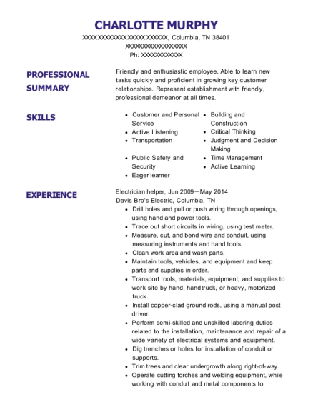 Electrician Helper resume example Tennessee