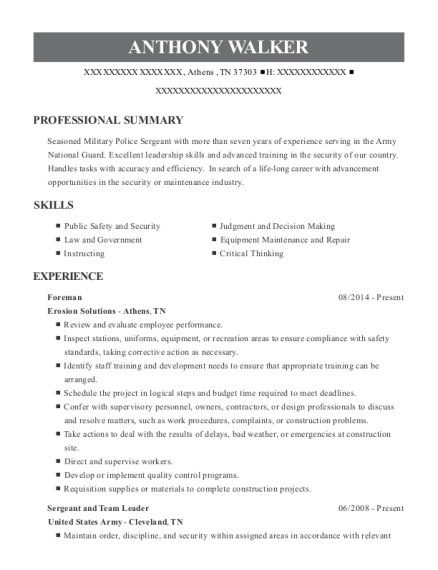 Foreman resume sample Tennessee