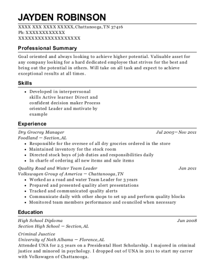 Dry Grocrey Manager resume sample Tennessee