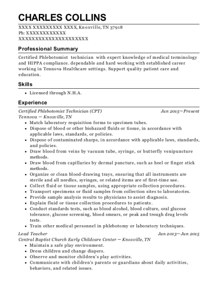 Certified Phlebotomist Technician resume template Tennessee