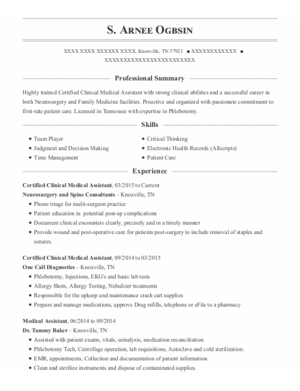 Certified Clinical Medical Assistant resume example Tennessee