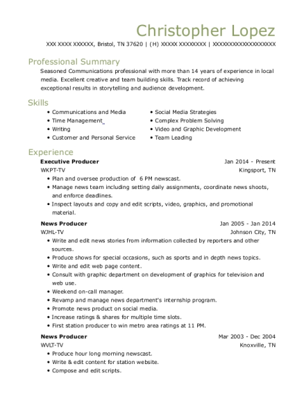 Executive Producer resume format Tennessee