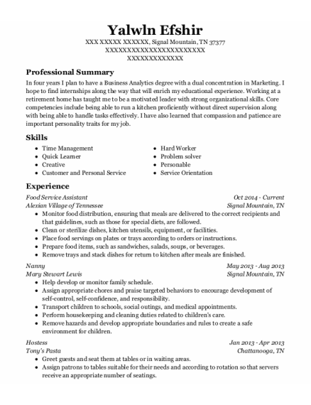 Food Service Assistant resume template Tennessee