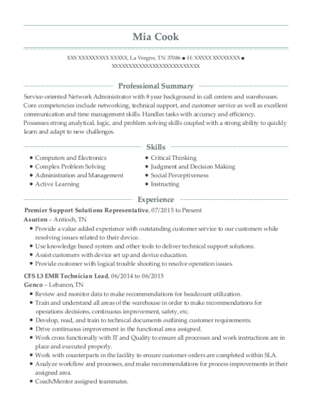 Premier Support Solutions Representative resume example Tennessee