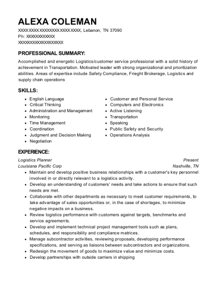 Logistics Planner resume example Tennessee