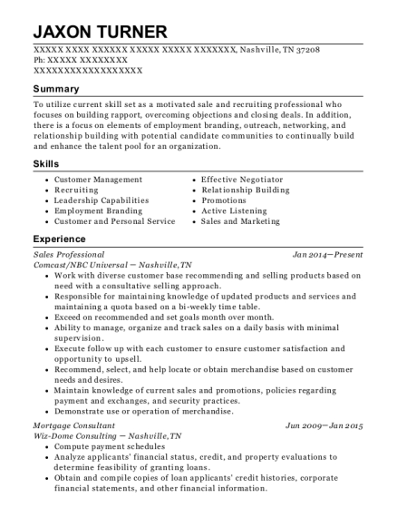Sales Professional resume example Tennessee