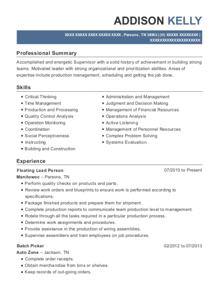 Floating Lead Person resume format Tennessee