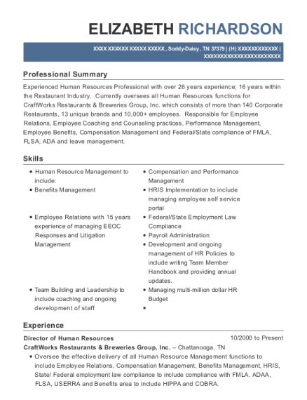 Director of Human Resources resume format Tennessee