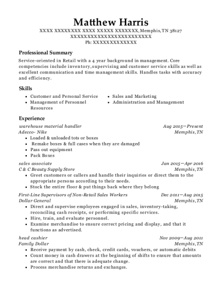 Warehouse Material Handler resume example Tennessee