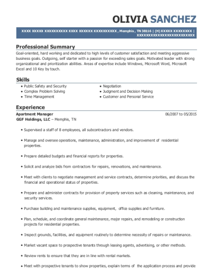 Apartment Manager resume sample Tennessee