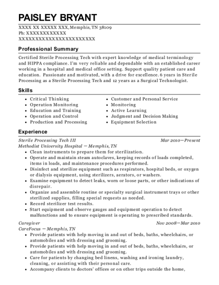 Sterile Processing Tech III resume format Tennessee