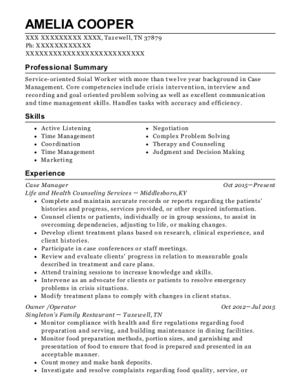 Case Manager resume example Tennessee