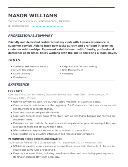 Courtesy Clerk resume template Tennessee