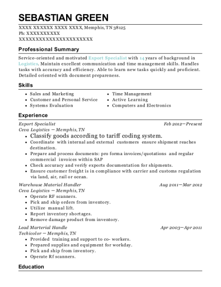 Export Specialist resume sample Tennessee