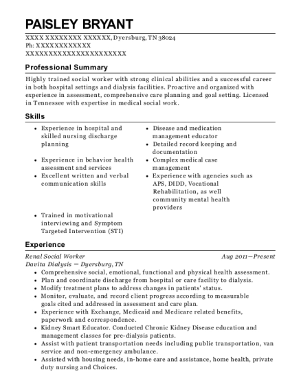 davita st lukes bethlehem dialysis center renal social worker resume sample