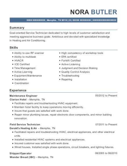 Maintenance Engineer resume sample Tennessee