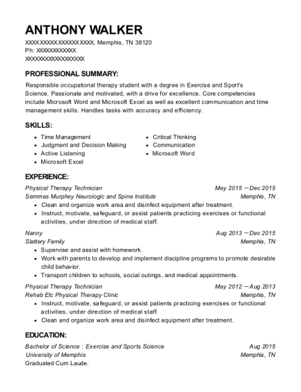 Physical Therapy Technician resume sample Tennessee
