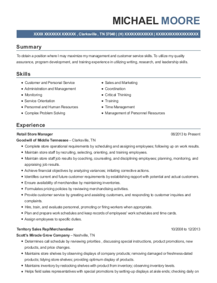 Retail Store Manager resume format Tennessee