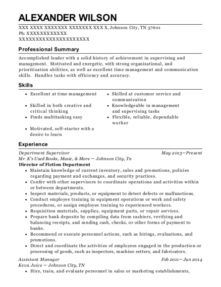 Department Supervisor resume template Tennessee