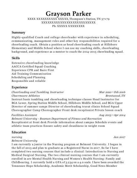 Cheerleading and Tumbling Instructor resume template Tennessee