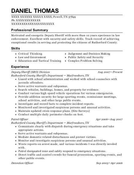 Deputy Sheriff Division resume sample Tennessee