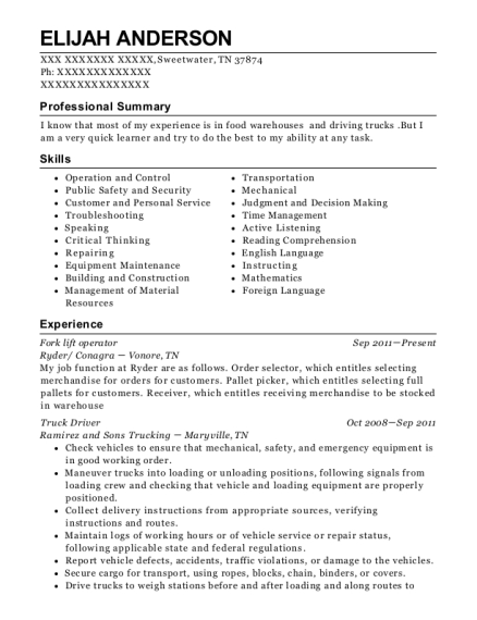 Fork Lift Operator resume format Tennessee