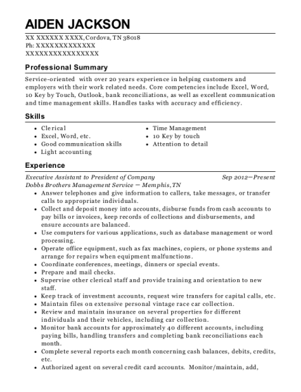 Executive Assistant to President of Company resume format Tennessee