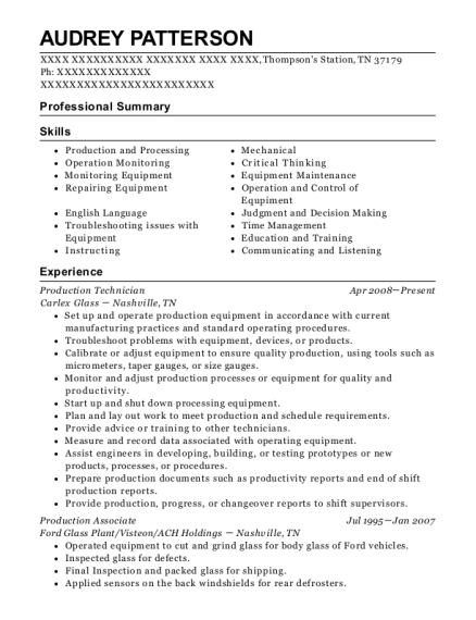 Production Technician resume sample Tennessee