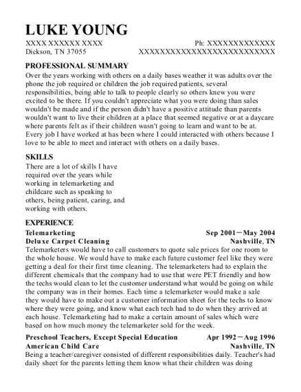 Telemarketing resume example Tennessee