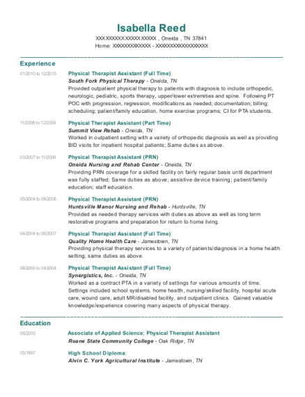 Physical Therapist Assistant resume sample Tennessee