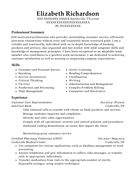 Customer Care Representative resume example Tennessee
