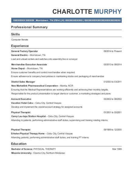 General Factory Operator resume example Tennessee