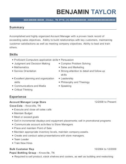 Account Manager Large Store resume sample Tennessee