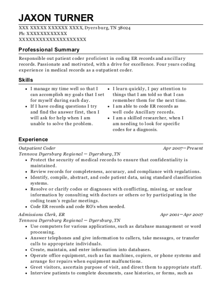 Outpatient Coder resume sample Tennessee