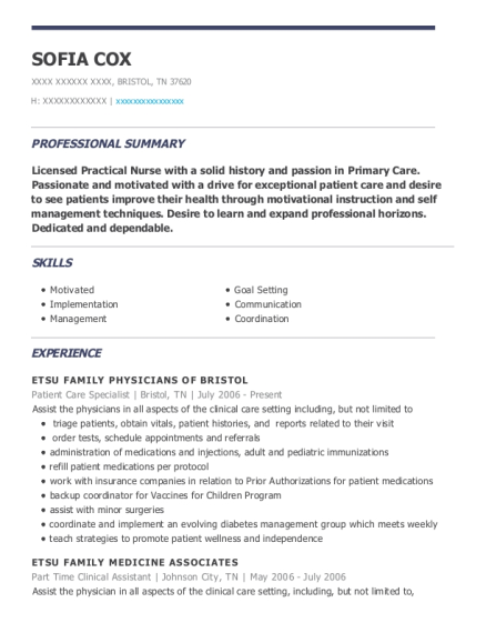 Patient Care Specialist resume template Tennessee