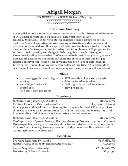 Reading Recovery resume example Tennessee