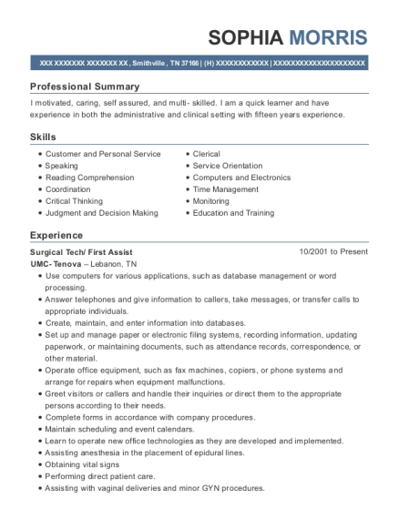 Surgical Tech resume sample Tennessee