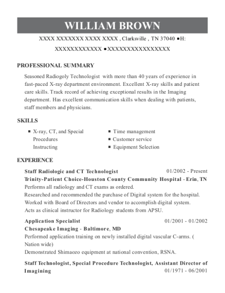 20 Best Ct Technologist Resumes Resumehelp