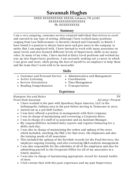 Front Desk Associate resume sample Tennessee