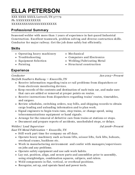 Conductor resume sample Tennessee