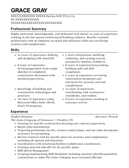 Drafter resume template Tennessee