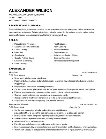 Meat Cutter resume example Tennessee