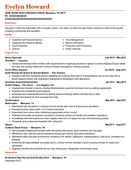 Stock Associate resume format Tennessee