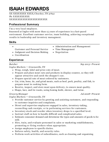 Butcher resume example Tennessee