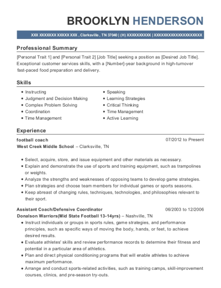 football coach resume format Tennessee