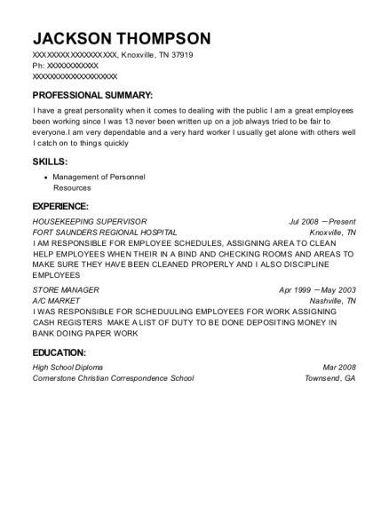Housekeeping Supervisor resume sample Tennessee